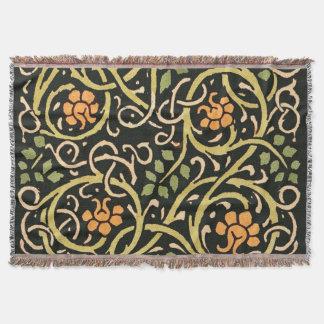 William Morris Black Floral Art Print Design Throw Blanket
