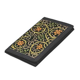 William Morris Black Floral Art Print Design Tri-fold Wallets