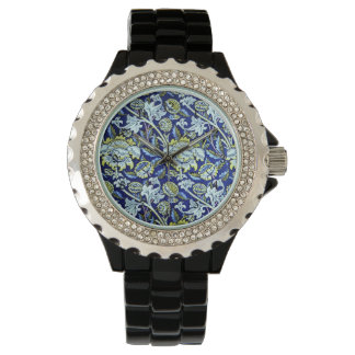 William Morris Blue Floral Pattern Wristwatch