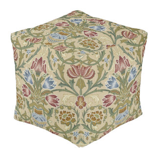 William Morris Brocade Floral Pattern Pouf