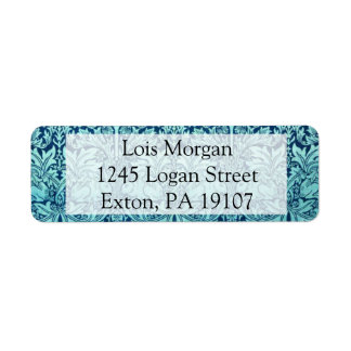 William Morris Brother Rabbit Pattern in Blue Return Address Label