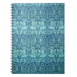 William Morris Brother Rabbit Pattern in Blue Spiral Notebook