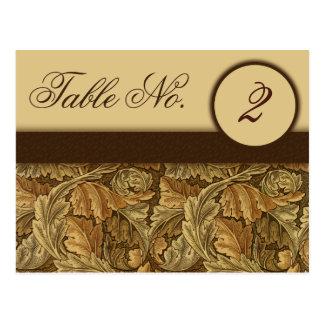 William Morris Brown Leaves Table Number Cards Postcard