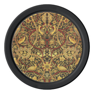 William Morris Bullerswood Tapestry Floral Art Set Of Poker Chips