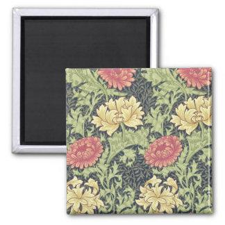 William Morris Chrysanthemum Vintage Floral Art Square Magnet