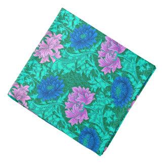 William Morris Chrysanthemums, Aqua and Violet Head Kerchief