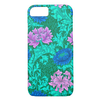 William Morris Chrysanthemums, Aqua and Violet iPhone 7 Case