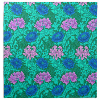 William Morris Chrysanthemums, Aqua and Violet Napkin