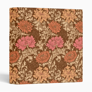 William Morris Chrysanthemums, Brown and Rust 3 Ring Binder