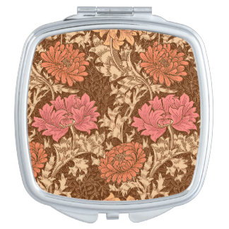 William Morris Chrysanthemums, Brown and Rust Makeup Mirror