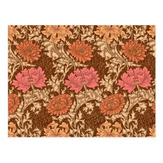 William Morris Chrysanthemums, Brown and Rust Postcard