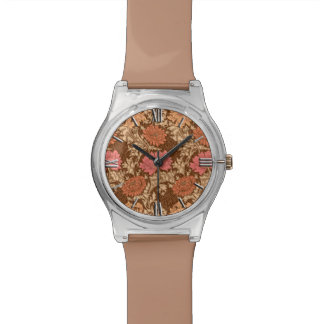 William Morris Chrysanthemums, Brown and Rust Watch