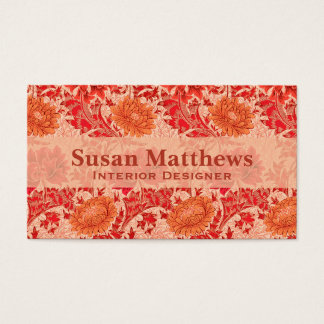 William Morris Chrysanthemums, Coral Orange Business Card