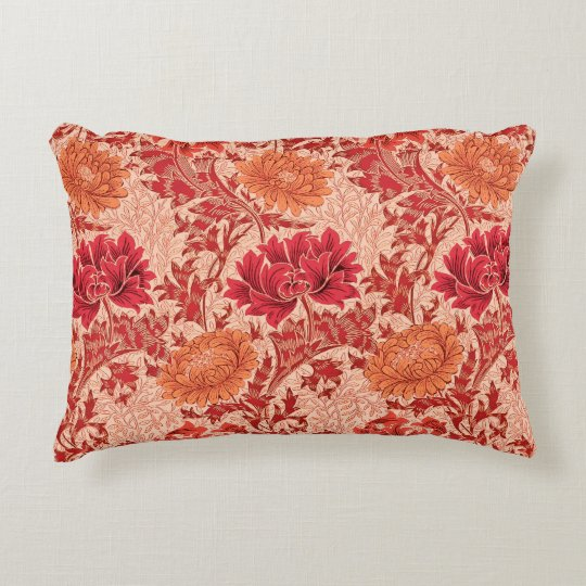 William Morris Chrysanthemums, Coral Orange Decorative Pillow