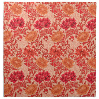 William Morris Chrysanthemums, Coral Orange Napkin