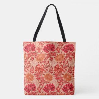 William Morris Chrysanthemums, Coral Orange Tote Bag