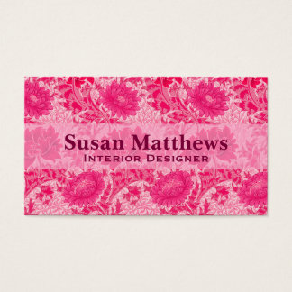 William Morris Chrysanthemums, Fuchsia Pink Business Card