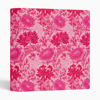William Morris Chrysanthemums, Fuchsia Pink Vinyl Binder