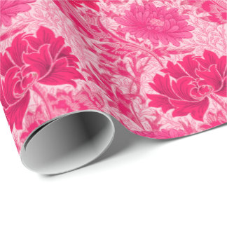 William Morris Chrysanthemums, Fuchsia Pink Wrapping Paper