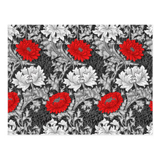 William Morris Chrysanthemums, Gray and Red Postcard