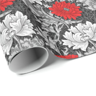 William Morris Chrysanthemums, Gray and Red Wrapping Paper