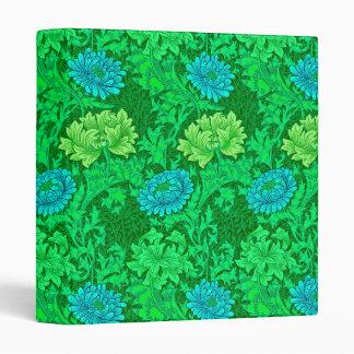 William Morris Chrysanthemums, Lime Green & Aqua 3 Ring Binder