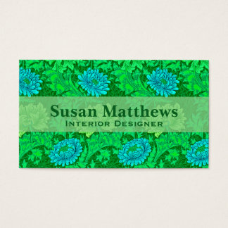 William Morris Chrysanthemums, Lime Green & Aqua Business Card