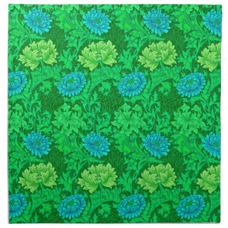 William Morris Chrysanthemums, Lime Green & Aqua Napkin