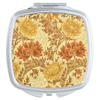 William Morris Chrysanthemums, Mustard Gold Compact Mirror