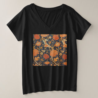William Morris Cray Floral Art Nouveau Pattern Plus Size V-Neck T-Shirt