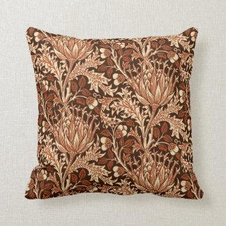 William Morris Damask, Brown & Beige Throw Pillow