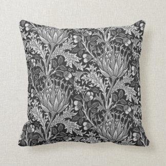 William Morris Damask, Dark Gray Throw Pillow