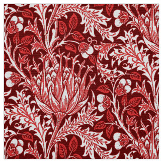 William Morris Damask, Dark Red & White Fabric