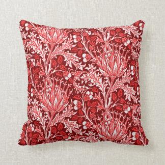 William Morris Damask, Dark Red & White Throw Pillow