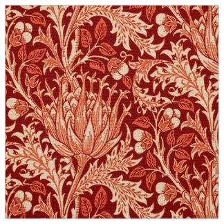 William Morris Damask, Deep Orange Fabric