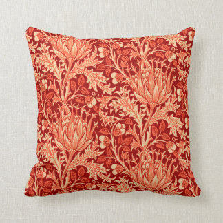 William Morris Damask, Deep Orange Throw Pillow