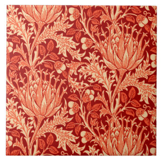 William Morris Damask, Deep Orange Tile