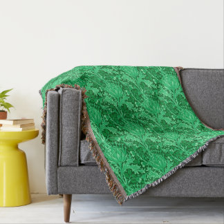William Morris Damask, Emerald Green Throw Blanket