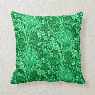 William Morris Damask, Emerald Green Throw Pillow