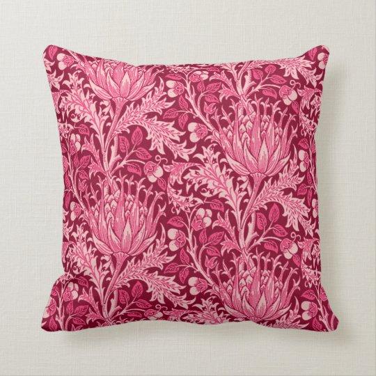 William Morris Damask, Fuchsia Pink Throw Pillow