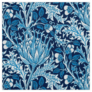 William Morris Damask, Navy & White Fabric