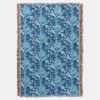 William Morris Damask, Navy & White Throw Blanket