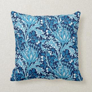 William Morris Damask, Navy & White Throw Pillow