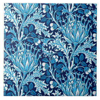 William Morris Damask, Navy & White Tile