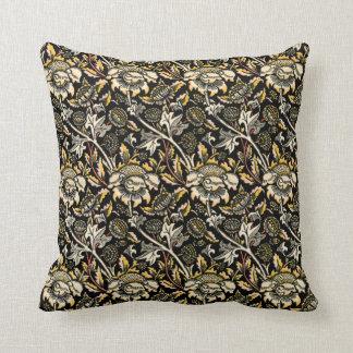 William Morris dark floral arabesque Throw Pillow