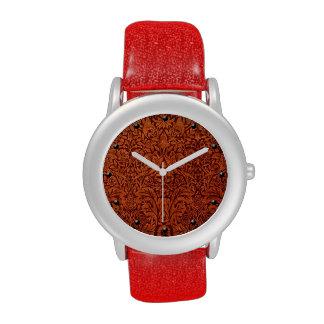 William Morris deep brown vintage floral pattern Watch