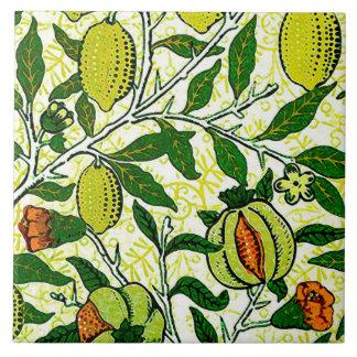 William Morris Exotic Fruit, Lemon Yellow & Coral Tile