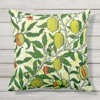 William Morris Exotic Fruit, Lemon Yellow Throw Pillow