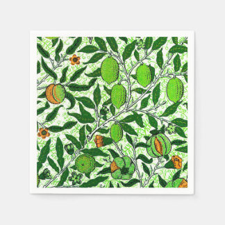 William Morris Exotic Fruit, Lime Green Paper Napkins