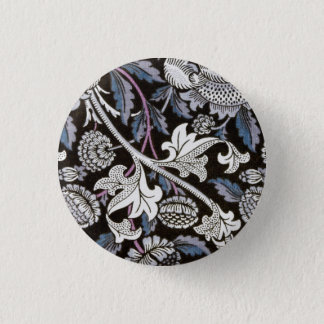 William Morris fabric black and white design 1 Inch Round Button
